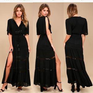 NWOT BLACK LULU'S BOHO SUMMER CROCHET MAXI DRESS